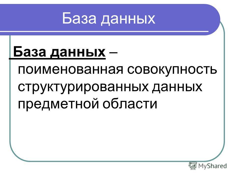 База данных База данных – поименованная совокупность структурированных данных предметной области