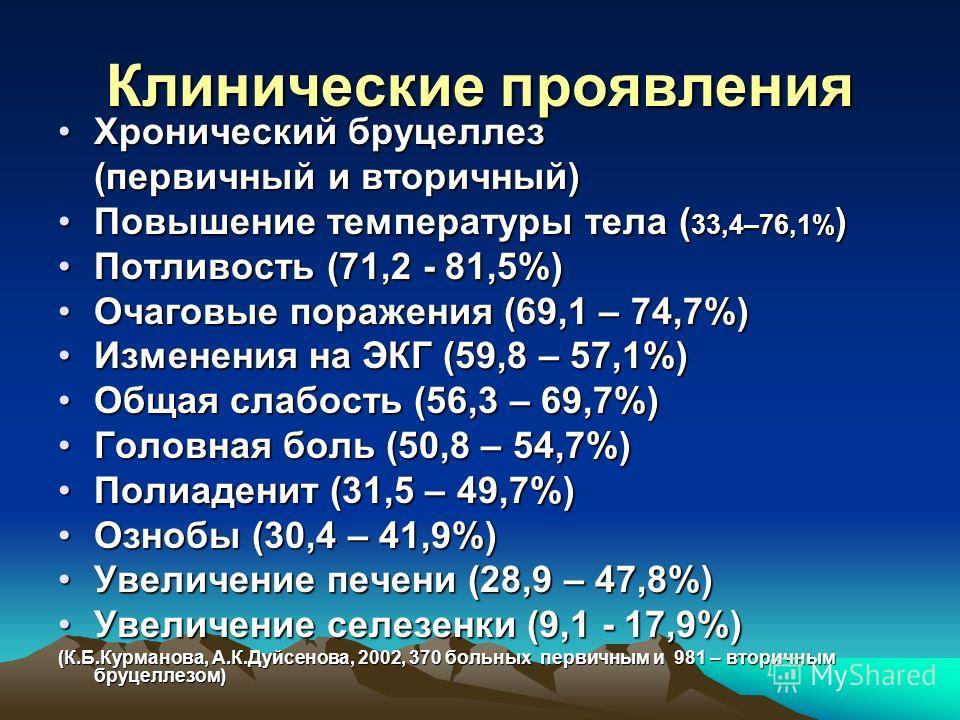 Клинические проявления Хронический бруцеллезХронический бруцеллез (первичный и вторичный) Повышение температуры тела ( 33,4–76,1% )Повышение температуры тела ( 33,4–76,1% ) Потливость (71,2 - 81,5%)Потливость (71,2 - 81,5%) Очаговые поражения (69,1 –
