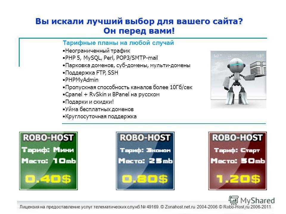 Лицензия на предоставление услуг телематических служб 49169 © Zonahost.net.ru 2004-2006 © Robo-Host.ru 2006-2011. Вы искали лучший выбор для вашего сайта? Он перед вами! Тарифные планы на любой случай Неограниченный трафик PHP 5, MySQL, Perl, POP3/SM