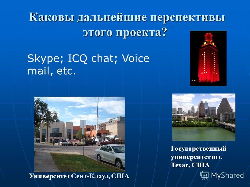 Каковы дальнейшие перспективы этого проекта? Каковы дальнейшие перспективы этого проекта? Сент-Клауд, США Университет Сент-Клауд, США Государственный университет шт. Техас, США Skype; ICQ chat; Voice mail, etc.