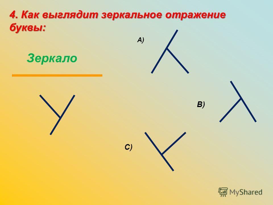 4. Как выглядит зеркальное отражение буквы: Зеркало А) В) C)