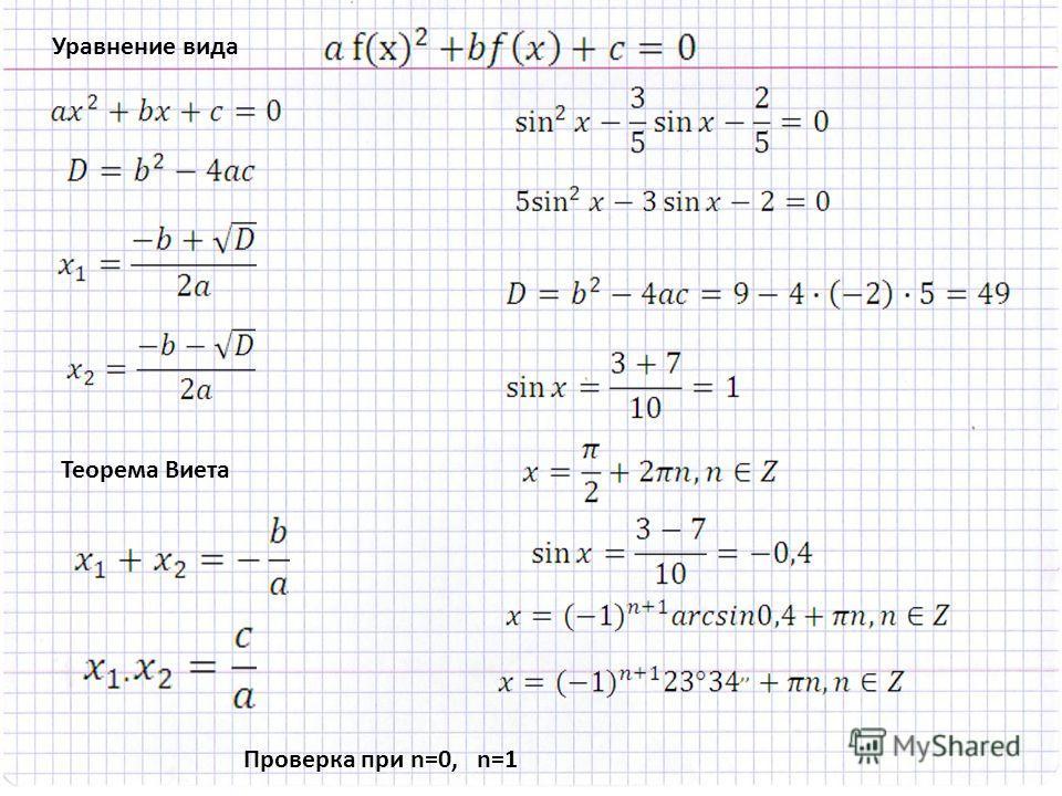 Проверка при n=0, n=1 Теорема Виета