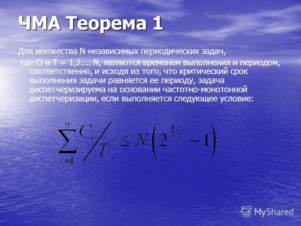 ЧМА Теорема 1 Для множества N независимых периодических задач, где Ci и T = 1,2.... N, являются временем выполнения и периодом, соответственно, и исходя из того, что критический срок выполнения задачи равняется ее периоду, задача диспетчеризируема на