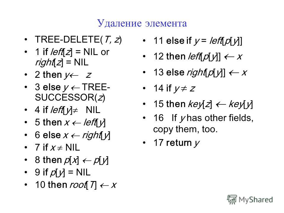 Удаление элемента TREE-DELETE(T, z) 1 if left[z] = NIL or right[z] = NIL 2 then y z 3 else y TREE- SUCCESSOR(z) 4 if left[y] NIL 5 then x left[y] 6 else x right[y] 7 if x NIL 8 then p[x] p[y] 9 if p[y] = NIL 10 then root[T] x 11 else if y = left[p[y]