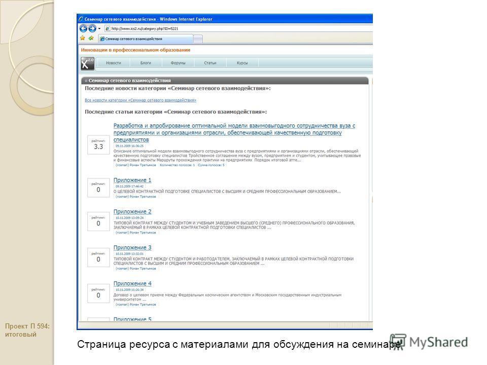 Страница ресурса c материалами для обсуждения на семинаре Проект П 594: итоговый