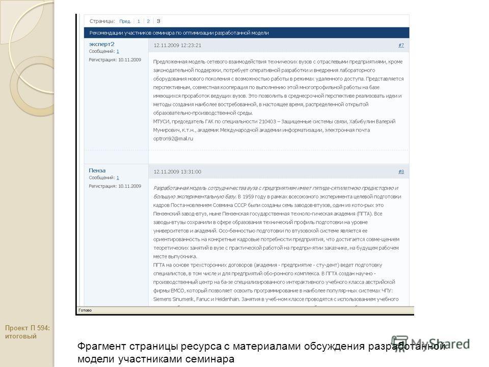 Фрагмент страницы ресурса c материалами обсуждения разработанной модели участниками семинара Проект П 594: итоговый