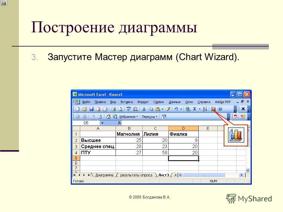 Построение диаграммы 3. Запустите Мастер диаграмм (Chart Wizard). © 2009 Богданова В.А.