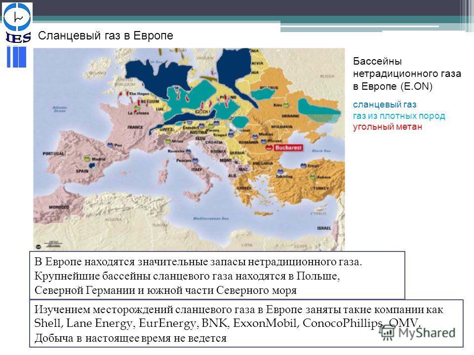 Сланцевый газ в Европе В Европе находятся значительные запасы нетрадиционного газа. Крупнейшие бассейны сланцевого газа находятся в Польше, Северной Германии и южной части Северного моря Бассейны нетрадиционного газа в Европе (E.ON) сланцевый газ газ