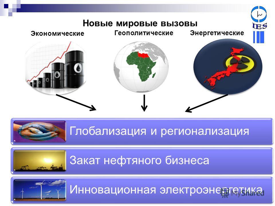 Новые мировые вызовы Глобализация и регионализация Закат нефтяного бизнеса Инновационная электроэнергетика Экономические ГеополитическиеЭнергетические