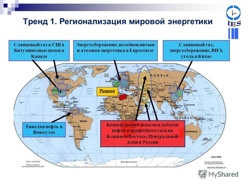 Тренд 1. Регионализация мировой энергетики Энергосбережение, возобновляемая и атомная энергетика в Евросоюзе Сланцевый газ в США Битуминозные пески в Канаде Тяжелая нефть в Венесуэле Сланцевый газ, энергосбережение, ВИЭ, уголь в Китае Концентрация за