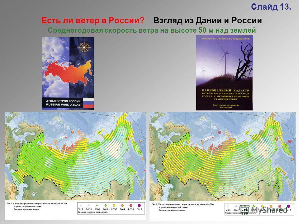 Слайд 13. Есть ли ветер в России? Взгляд из Дании и России Среднегодовая скорость ветра на высоте 50 м над землей