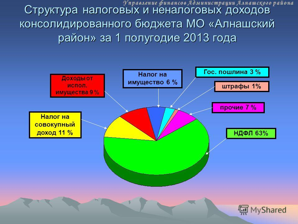 Структура налоговых и неналоговых доходов консолидированного бюджета МО «Алнашский район» за 1 полугодие 2013 года Налог на совокупный доход 11 % Доходы от испол. имущества 9 % Налог на имущество 6 % НДФЛ 63% прочие 7 % штрафы 1% Гос. пошлина 3 %