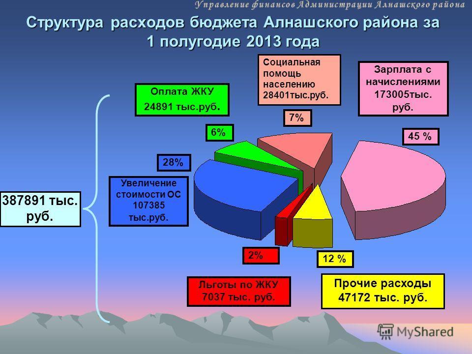 Структура расходов бюджета Алнашского района за 1 полугодие 2013 года 387891 тыс. руб. Льготы по ЖКУ 7037 тыс. руб. Увеличение стоимости ОС 107385 тыс.руб. Зарплата с начислениями 173005тыс. руб. 28% Оплата ЖКУ 24891 тыс.руб. 6% 45 % 12 % Социальная