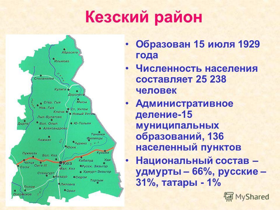 Кезский район Образован 15 июля 1929 года Численность населения составляет 25 238 человек Административное деление-15 муниципальных образований, 136 населенный пунктов Национальный состав – удмурты – 66%, русские – 31%, татары - 1%