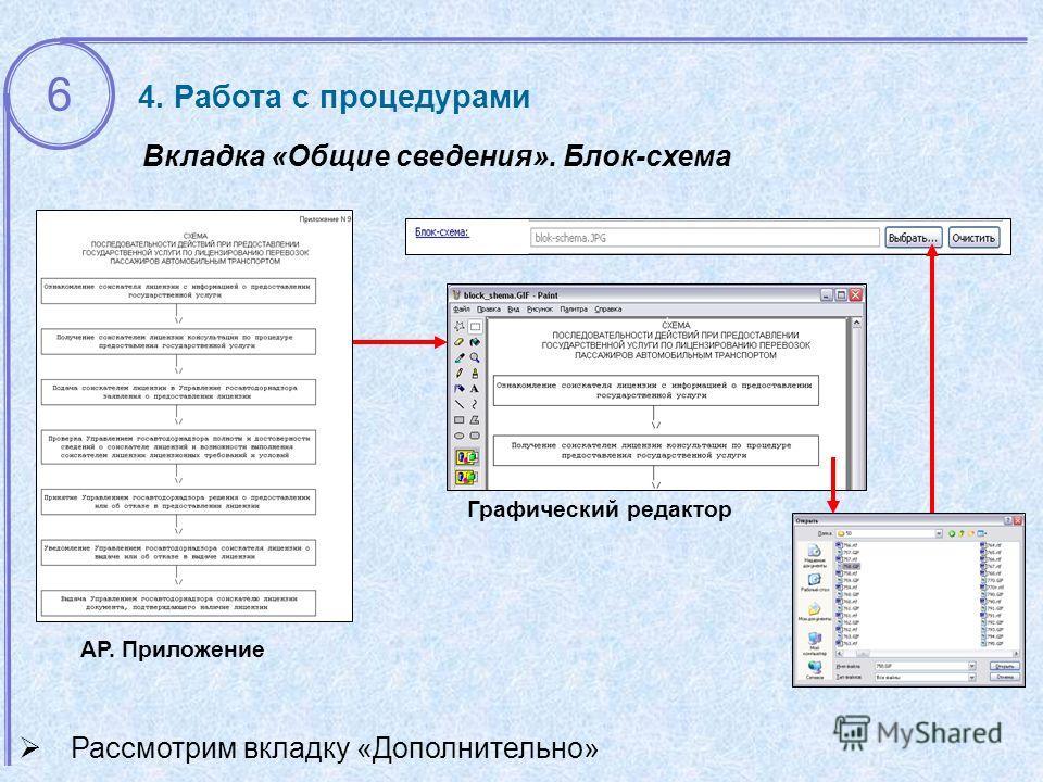 АР. Приложение Вкладка «Общие сведения». Блок-схема Графический редактор Рассмотрим вкладку «Дополнительно» 4. Работа с процедурами 6