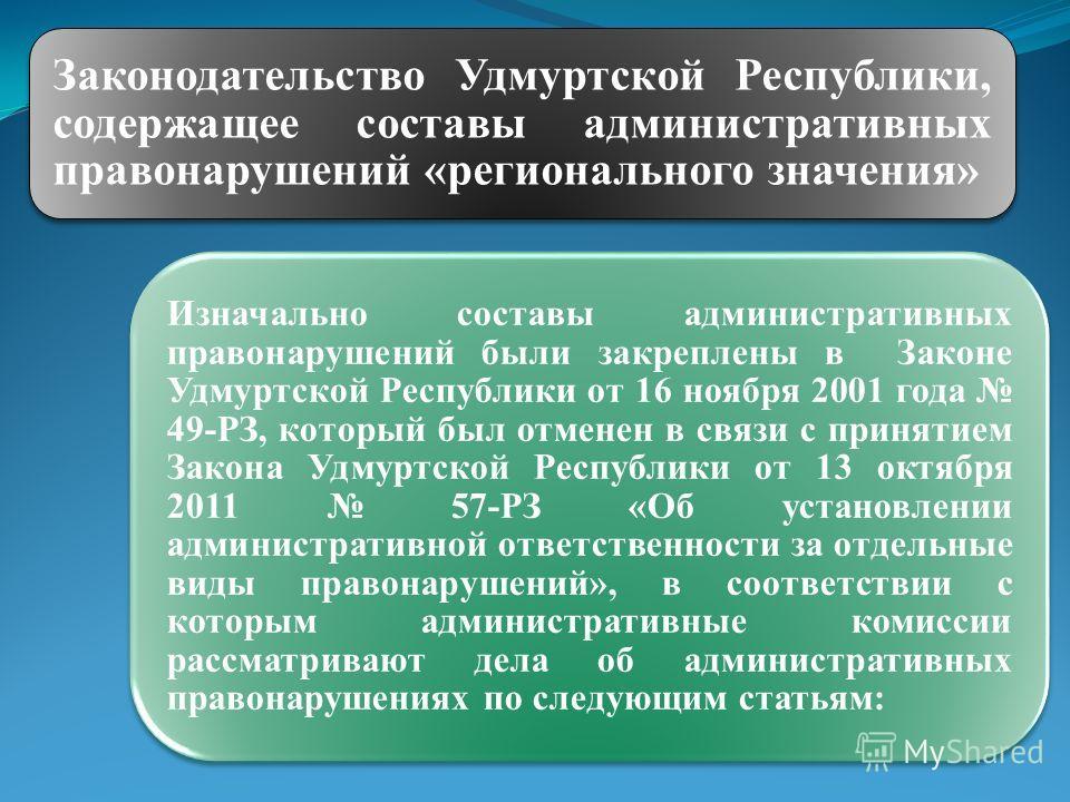 Изначально составы административных правонарушений были закреплены в Законе Удмуртской Республики от 16 ноября 2001 года 49-РЗ, который был отменен в связи с принятием Закона Удмуртской Республики от 13 октября 2011 57-РЗ «Об установлении администрат