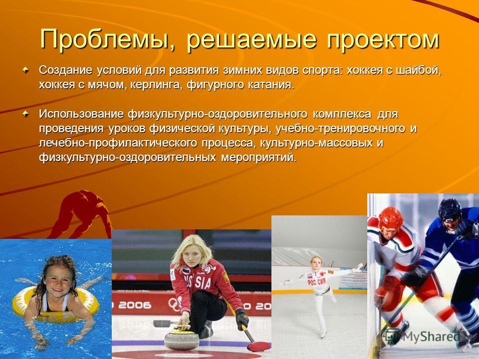 Проблемы, решаемые проектом Создание условий для развития зимних видов спорта: хоккея с шайбой, хоккея с мячом, керлинга, фигурного катания. Использование физкультурно-оздоровительного комплекса для проведения уроков физической культуры, учебно-трени