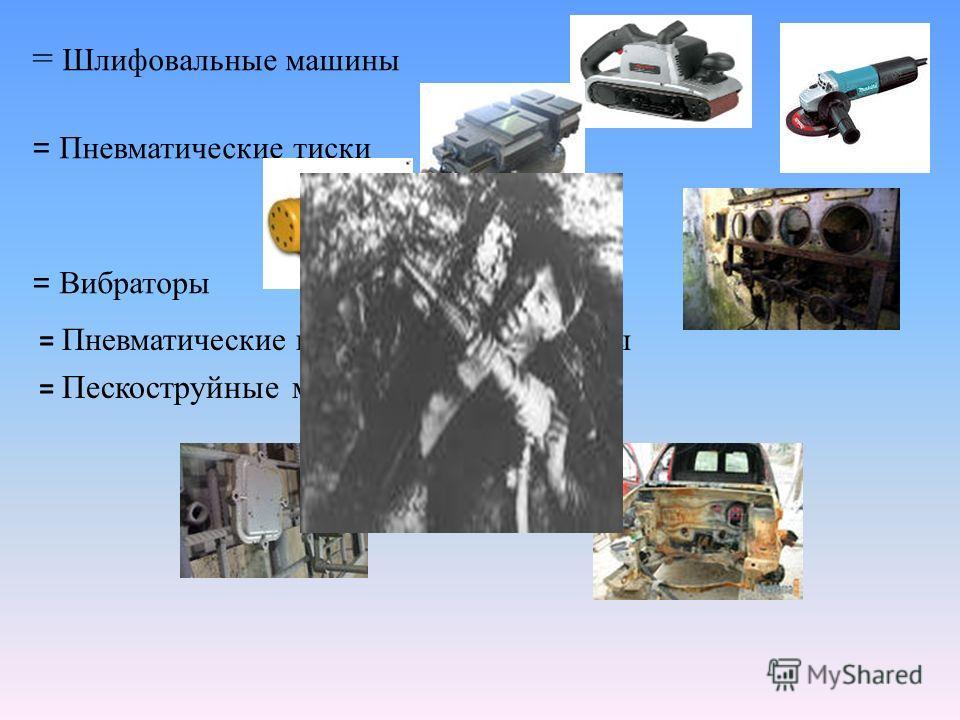 = Шлифовальные машины = Пневматические тиски = Вибраторы = Пневматические измерительные приборы = Пескоструйные машины