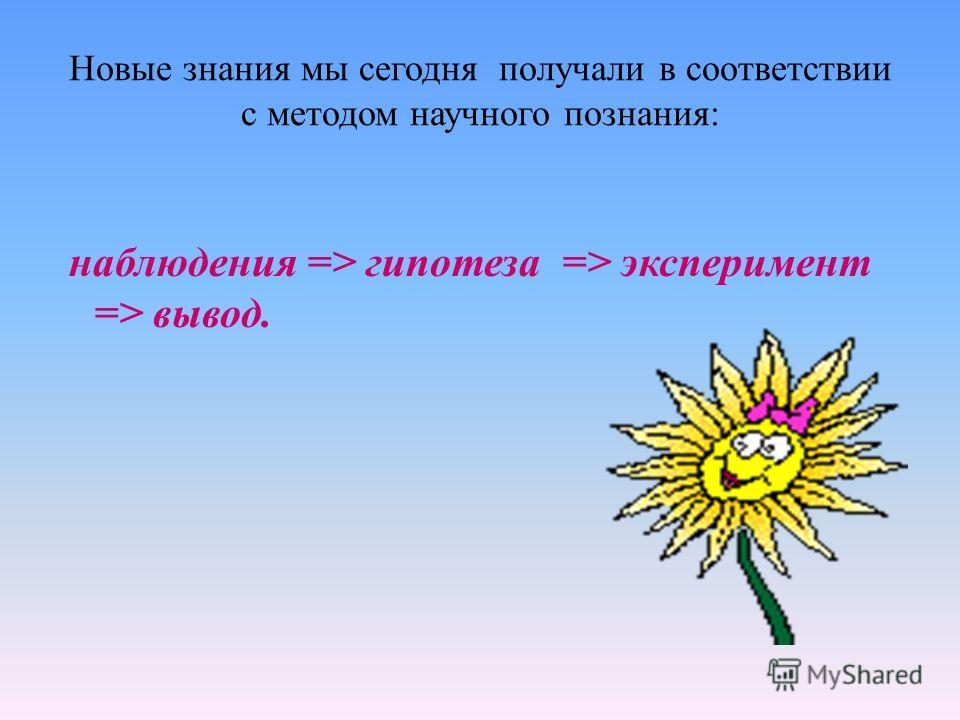Новые знания мы сегодня получали в соответствии с методом научного познания: наблюдения => гипотеза => эксперимент => вывод.
