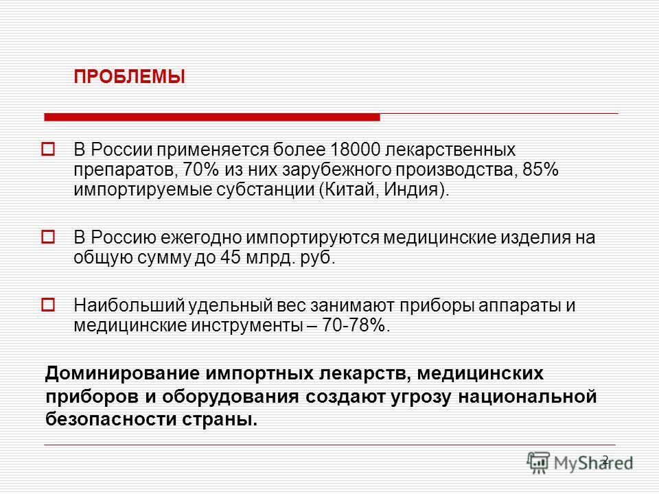 2 ПРОБЛЕМЫ В России применяется более 18000 лекарственных препаратов, 70% из них зарубежного производства, 85% импортируемые субстанции (Китай, Индия). В Россию ежегодно импортируются медицинские изделия на общую сумму до 45 млрд. руб. Наибольший уде