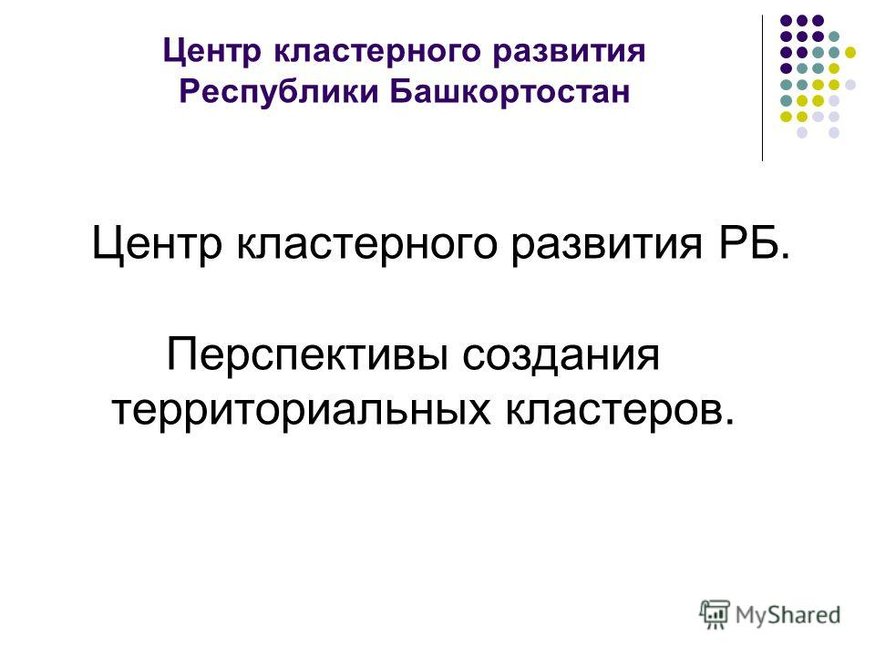 Центр кластерного развития Республики Башкортостан Центр кластерного развития РБ. Перспективы создания территориальных кластеров.