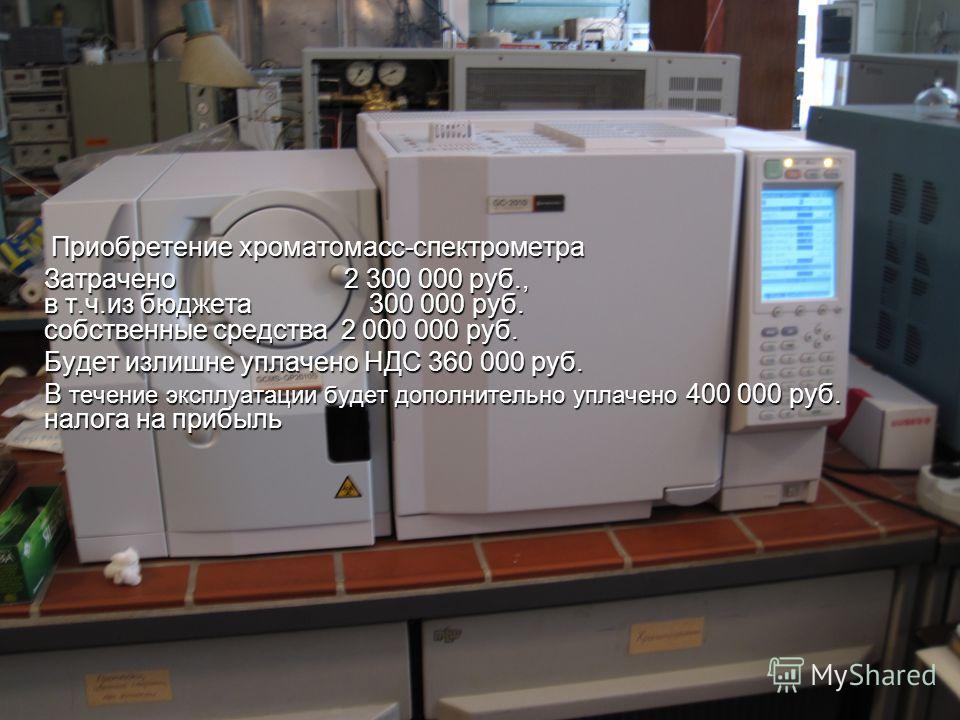 Приобретение хроматомасс-спектрометра Приобретение хроматомасс-спектрометра Затрачено 2 300 000 руб., в т.ч.из бюджета 300 000 руб. собственные средства 2 000 000 руб. Будет излишне уплачено НДС 360 000 руб. В течение эксплуатации будет дополнительно