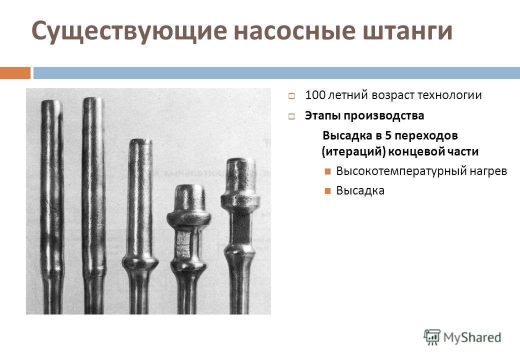 Существующие насосные штанги 100 летний возраст технологии Этапы производства Высадка в 5 переходов ( итераций ) концевой части Высокотемпературный нагрев Высадка