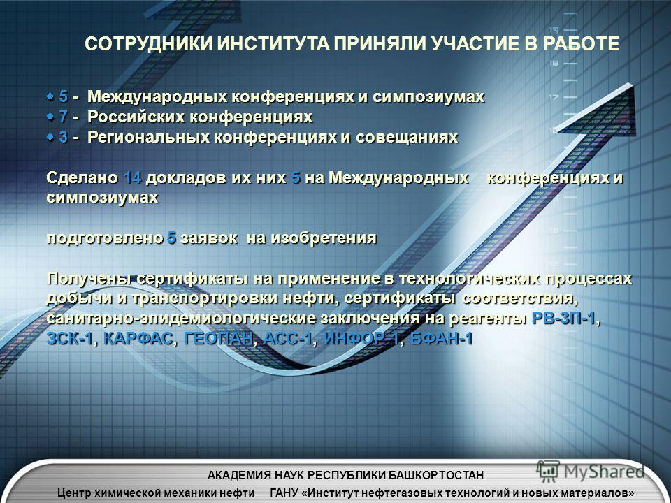 СОТРУДНИКИ ИНСТИТУТА ПРИНЯЛИ УЧАСТИЕ В РАБОТЕ 5 - Международных конференциях и симпозиумах 5 - Международных конференциях и симпозиумах 7 - Российских конференциях 7 - Российских конференциях 3 - Региональных конференциях и совещаниях 3 - Региональны