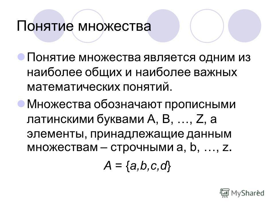 1 Понятие множества Понятие множества является одним из наиболее общих и наиболее важных математических понятий. Множества обозначают прописными латинскими буквами A, B, …, Z, а элементы, принадлежащие данным множествам – строчными a, b, …, z. А = {а