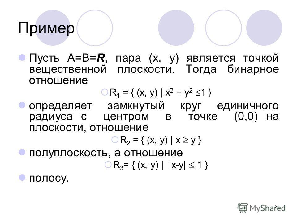 26 Пример Пусть A=B=R, пара (x, y) является точкой вещественной плоскости. Тогда бинарное отношение R 1 = { (x, y) | x 2 + y 2 1 } определяет замкнутый круг единичного радиуса с центром в точке (0,0) на плоскости, отношение R 2 = { (x, y) | x y } пол