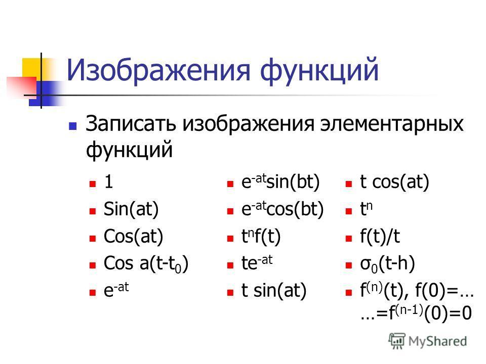 Изображения функций Записать изображения элементарных функций 1 Sin(at) Cos(at) Cos a(t-t 0 ) e -at e -at sin(bt) e -at cos(bt) t n f(t) te -at t sin(at) t cos(at) t n f(t)/t σ 0 (t-h) f (n) (t), f(0)=… …=f (n-1) (0)=0