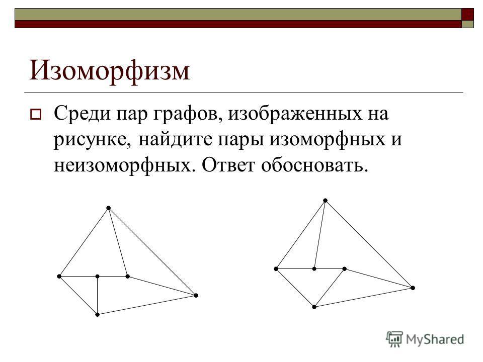 Изоморфизм Среди пар графов, изображенных на рисунке, найдите пары изоморфных и неизоморфных. Ответ обосновать.