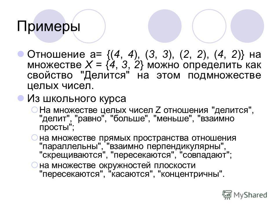 Примеры Отношение a= {(4, 4), (3, 3), (2, 2), (4, 2)} на множестве X = {4, 3, 2} можно определить как свойство