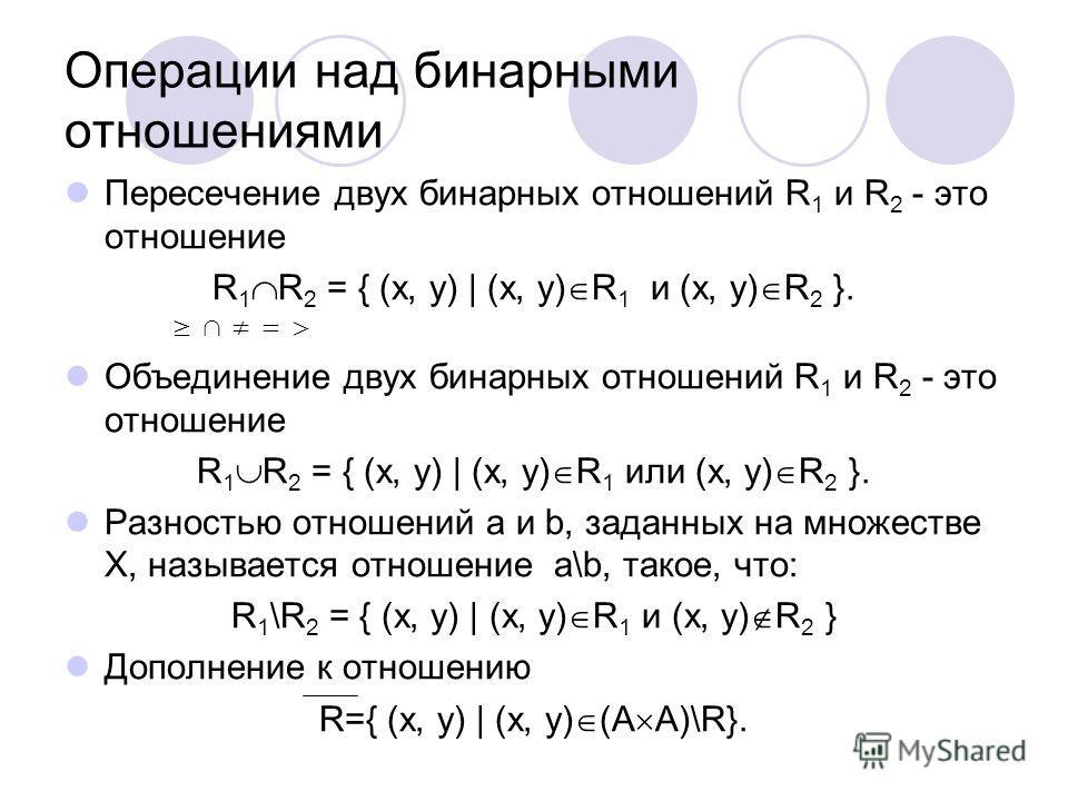 Операции над бинарными отношениями Пересечение двух бинарных отношений R 1 и R 2 - это отношение R 1 R 2 = { (x, y) | (x, y) R 1 и (x, y) R 2 }. = > Объединение двух бинарных отношений R 1 и R 2 - это отношение R 1 R 2 = { (x, y) | (x, y) R 1 или (x,