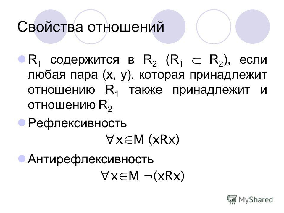 Свойства отношений R 1 содержится в R 2 (R 1 R 2 ), если любая пара (x, y), которая принадлежит отношению R 1 также принадлежит и отношению R 2 Рефлексивность xM (xRx) Антирефлексивность xM ¬(xRx)