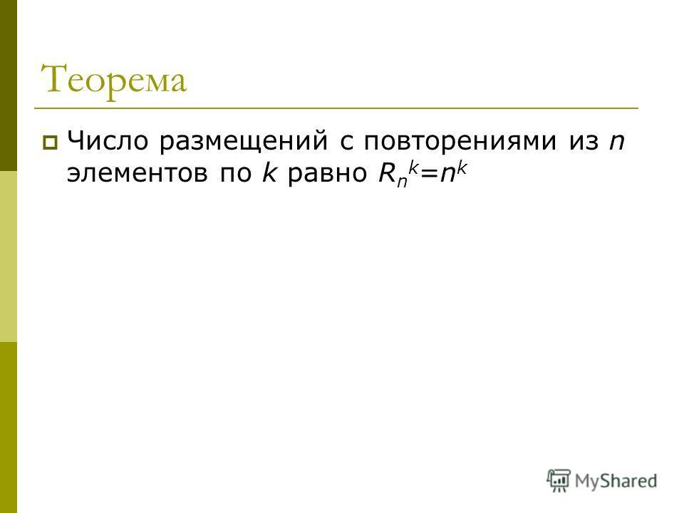 Теорема Число размещений с повторениями из n элементов по k равно R n k =n k