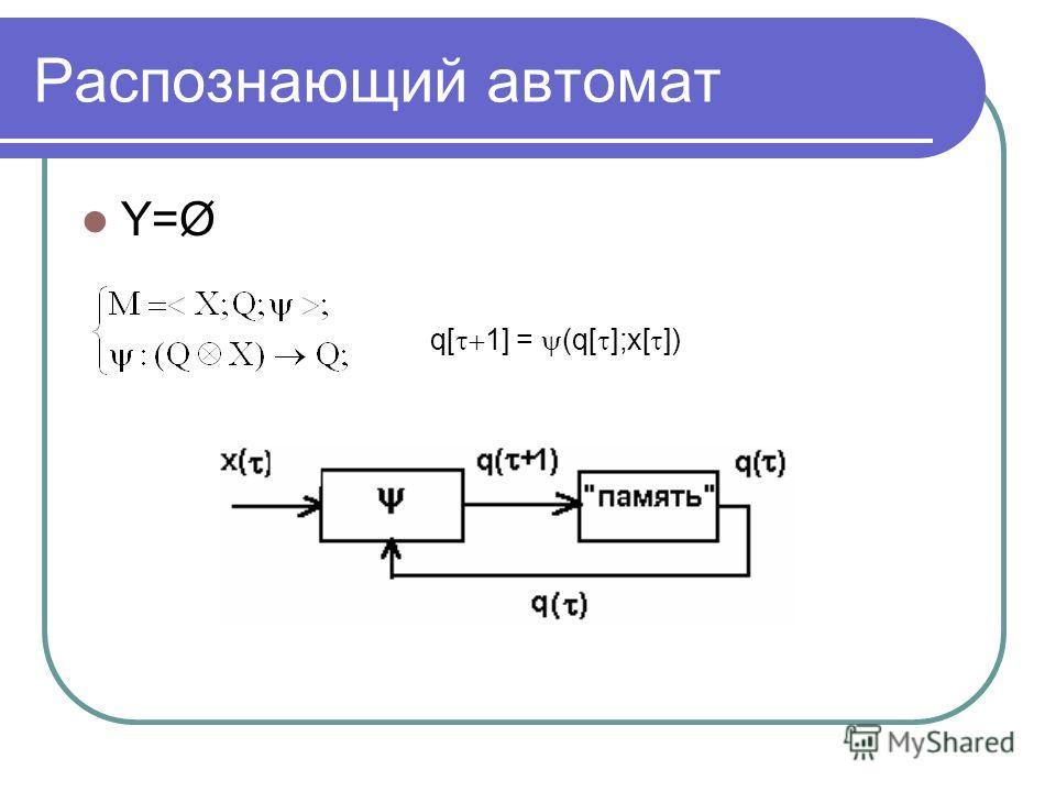 Распознающий автомат Y=Ø q[ 1] = (q[ ];x[ ])