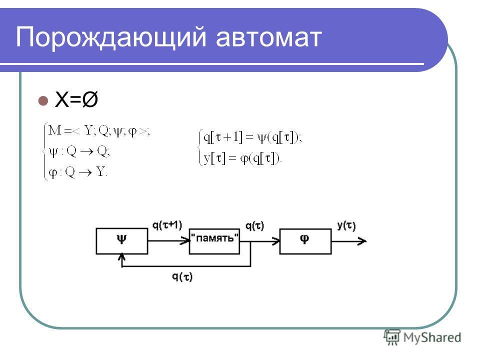 Порождающий автомат X=Ø