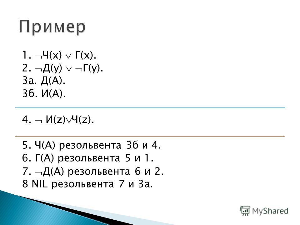 1. Ч(x) Г(x). 2. Д(y) Г(y). 3а. Д(А). 3б. И(А). 4. И(z) Ч(z). 5. Ч(A) резольвента 3б и 4. 6. Г(А) резольвента 5 и 1. 7. Д(А) резольвента 6 и 2. 8 NIL резольвента 7 и 3а.