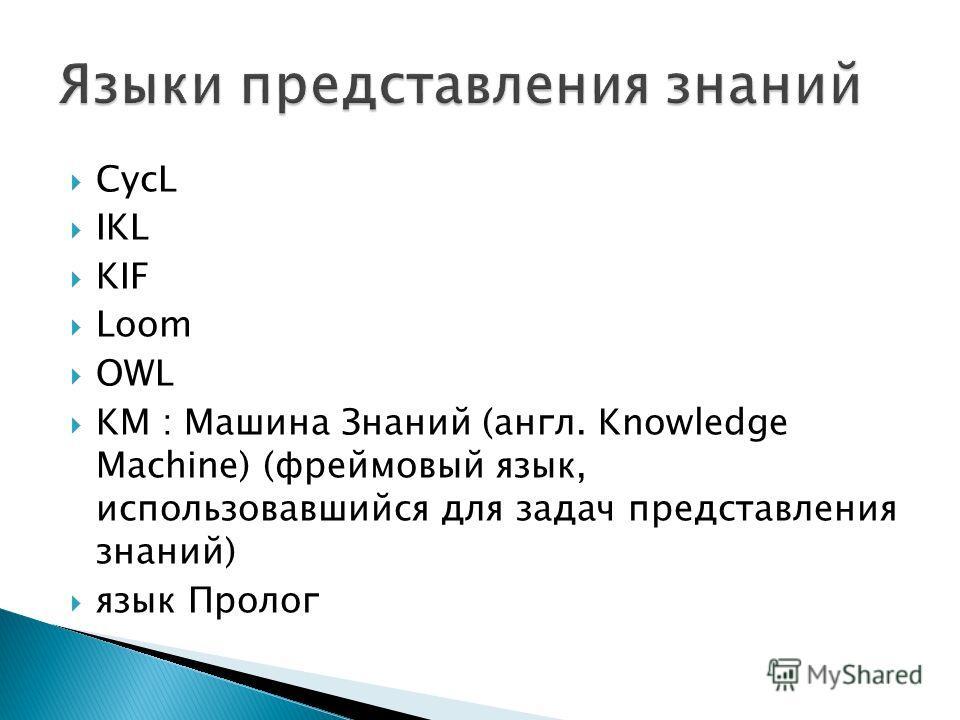CycL IKL KIF Loom OWL KM : Машина Знаний (англ. Knowledge Machine) (фреймовый язык, использовавшийся для задач представления знаний) язык Пролог