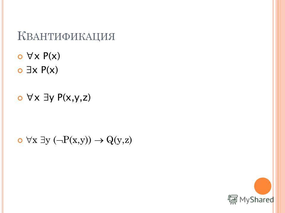 К ВАНТИФИКАЦИЯ x P(x) x y P(x,y,z) х у ( Р(х,у)) Q(у,z)