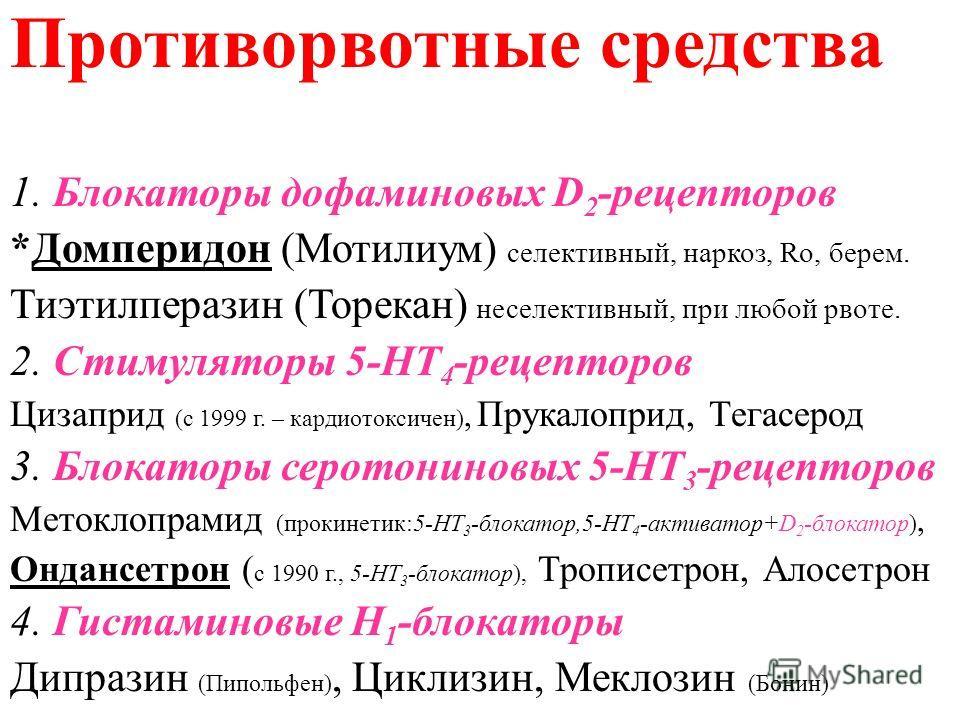 Противорвотные средства 1. Блокаторы дофаминовых D 2 -рецепторов *Домперидон (Мотилиум) селективный, наркоз, Ro, берем. Тиэтилперазин (Торекан) неселективный, при любой рвоте. 2. Стимуляторы 5-НТ 4 -рецепторов Цизаприд (с 1999 г. – кардиотоксичен), П