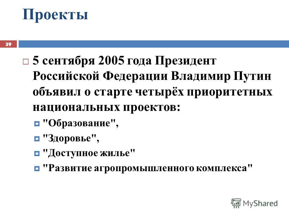 39 Проекты 39 5 сентября 2005 года Президент Российской Федерации Владимир Путин объявил о старте четырёх приоритетных национальных проектов: Образование, Здоровье, Доступное жилье Развитие агропромышленного комплекса
