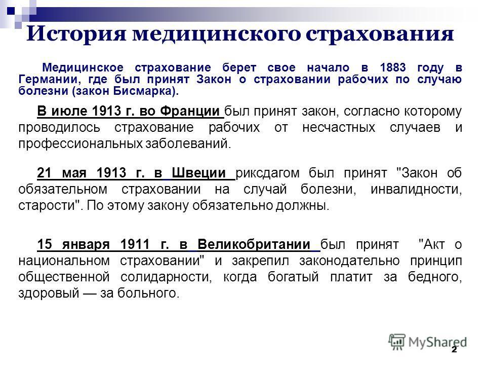 Презентация на тему Медицинское страхование в Российской  2 22 История медицинского страхования Медицинское страхование