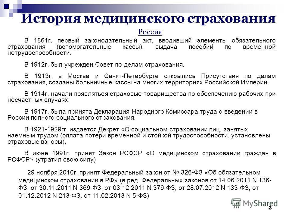 Презентация на тему Медицинское страхование в Российской  3 33 История медицинского