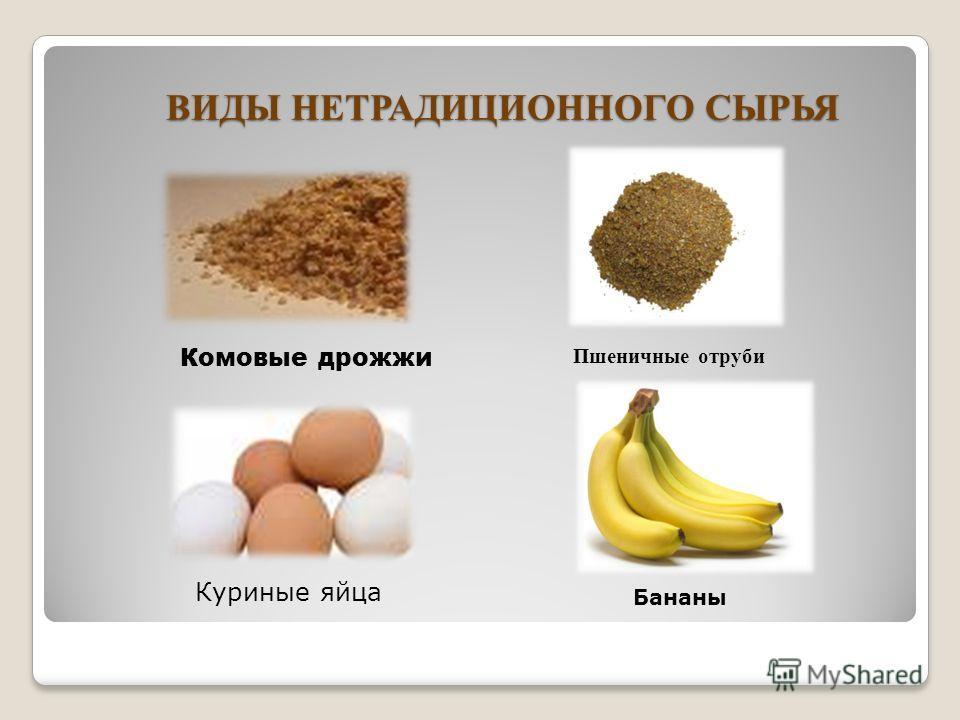 ВИДЫ НЕТРАДИЦИОННОГО СЫРЬЯ Комовые дрожжи Куриные яйца Бананы Пшеничные отруби