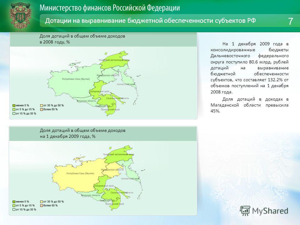 Дотации на выравнивание бюджетной обеспеченности субъектов РФ На 1 декабря 2009 года в консолидированные бюджеты Дальневосточного федерального округа поступило 80.6 млрд. рублей дотаций на выравнивание бюджетной обеспеченности субъектов, что составля