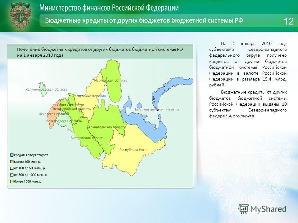 Бюджетные кредиты от других бюджетов бюджетной системы РФ На 1 января 2010 года субъектами Северо-западного федерального округа получено кредитов от других бюджетов бюджетной системы Российской Федерации в валюте Российской Федерации в размере 15.4 м