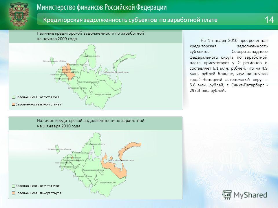 Кредиторская задолженность субъектов по заработной плате На 1 января 2010 просроченная кредиторская задолженность субъектов Северо-западного федерального округа по заработной плате присутствует у 2 регионов и составляет 6.1 млн. рублей, что на 4.9 мл