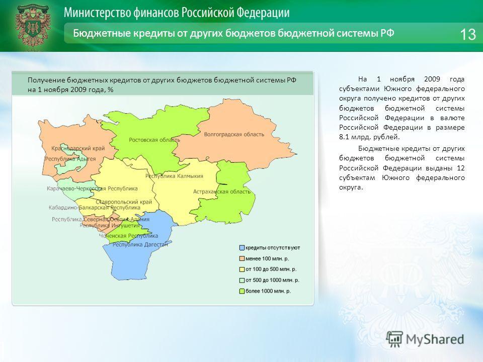 Бюджетные кредиты от других бюджетов бюджетной системы РФ На 1 ноября 2009 года субъектами Южного федерального округа получено кредитов от других бюджетов бюджетной системы Российской Федерации в валюте Российской Федерации в размере 8.1 млрд. рублей